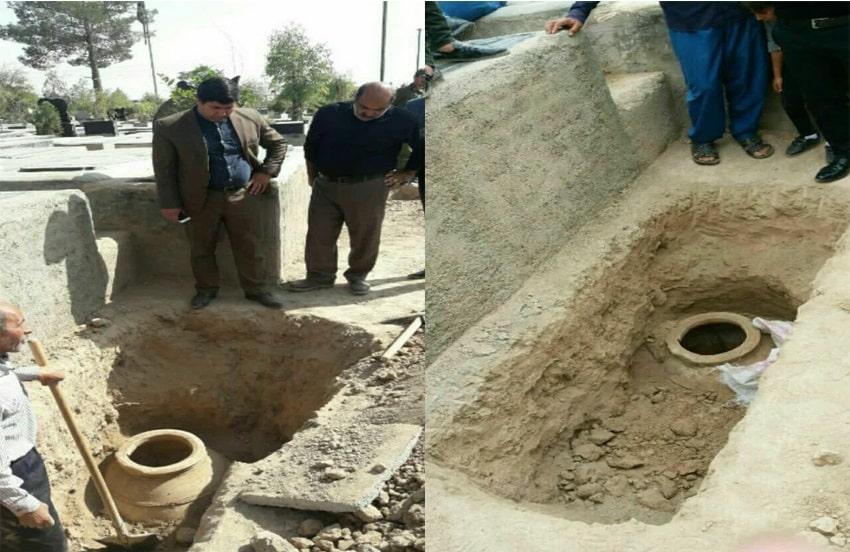 خمرۀ سفالی ساسانی در قرچک کشف شد