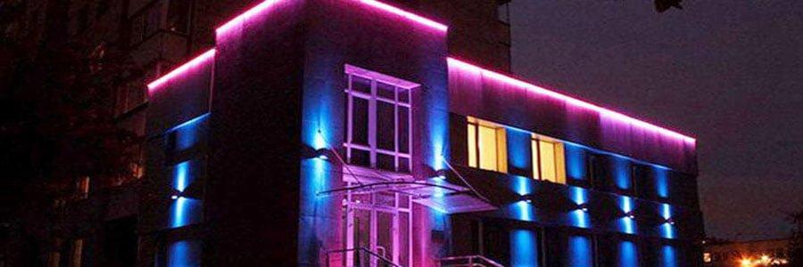نورپردازی نمای ساختمانهای مسکونی