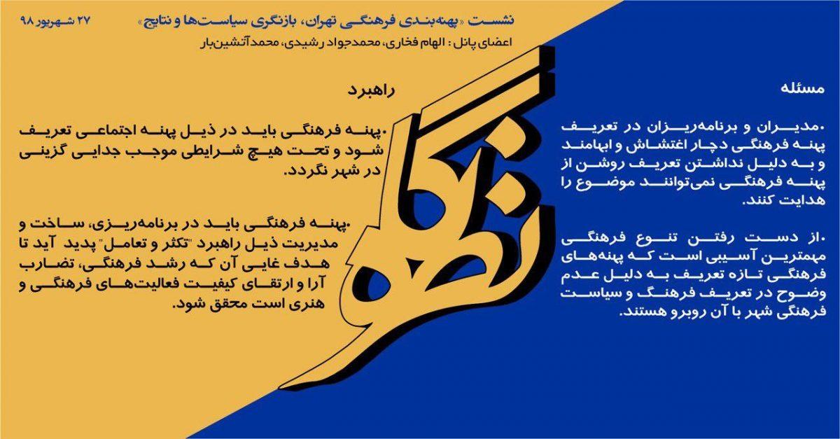 بیانیه کارگاه: پهنهبندی فرهنگی تهران، بازنگری سیاستها و نتایج