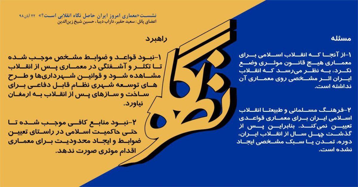 بیانیه کارگاه: «معماری امروز ایران حاصل نگاه انقلابی است؟»
