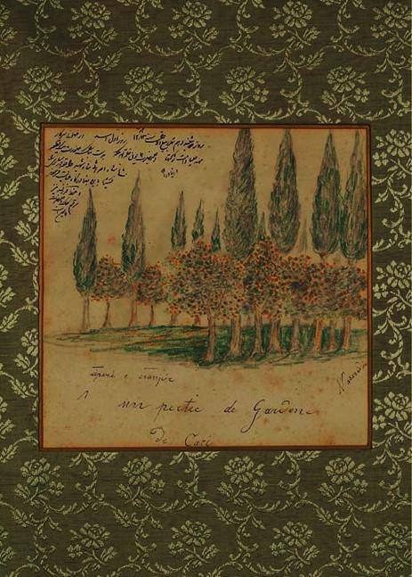 نقاشی ناصرالدین شاه قاجار از باغی در ساری