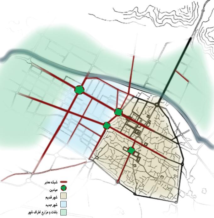 الگوی «میدان- معبر»، الگوی غالب توسعه شهر جدید در دوره رضاشاه و شکلگیری بافت میانیِ شیراز امروز